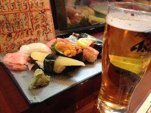 Beer and sushi1
